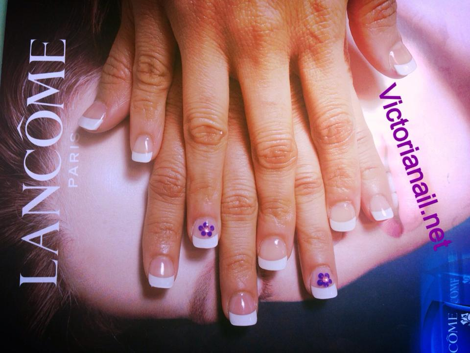 White tips and purple flowers artificial nail nail art design white tips and purple flowers prinsesfo Choice Image