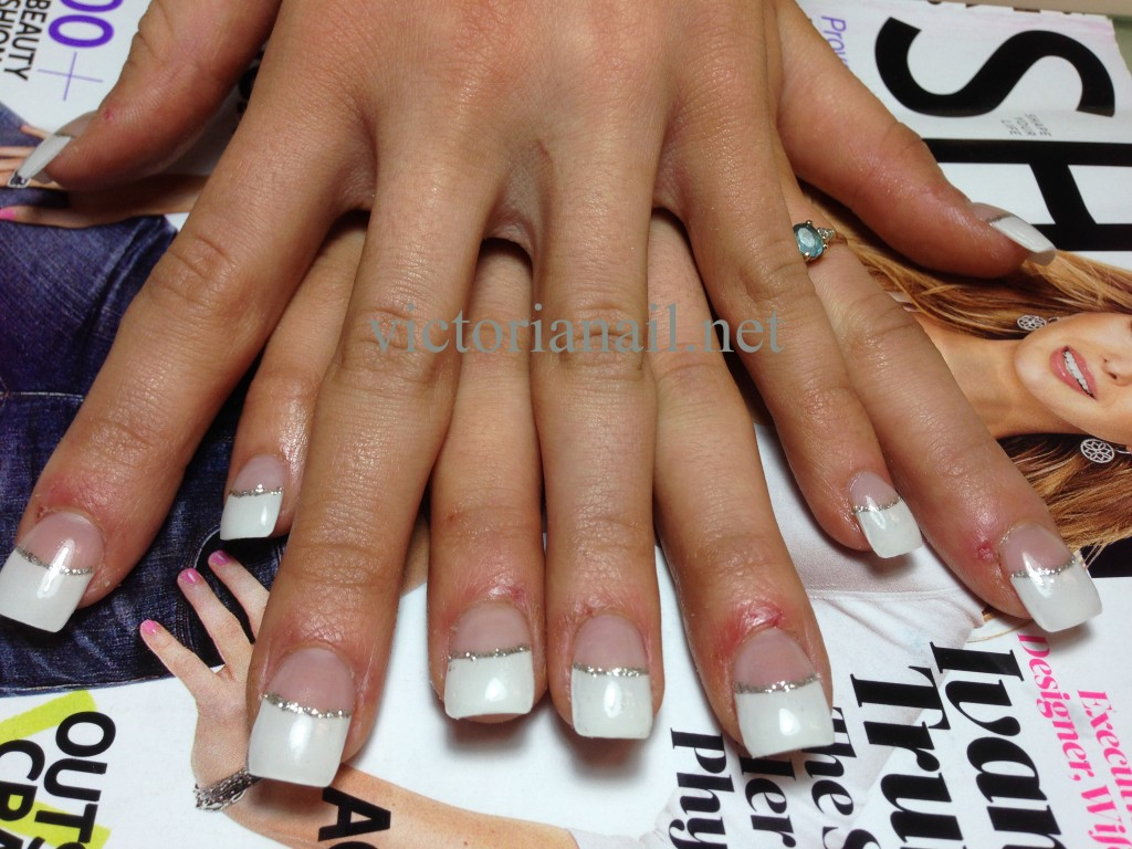 French nails & Silver line - Gallery - VictoriaNail.net